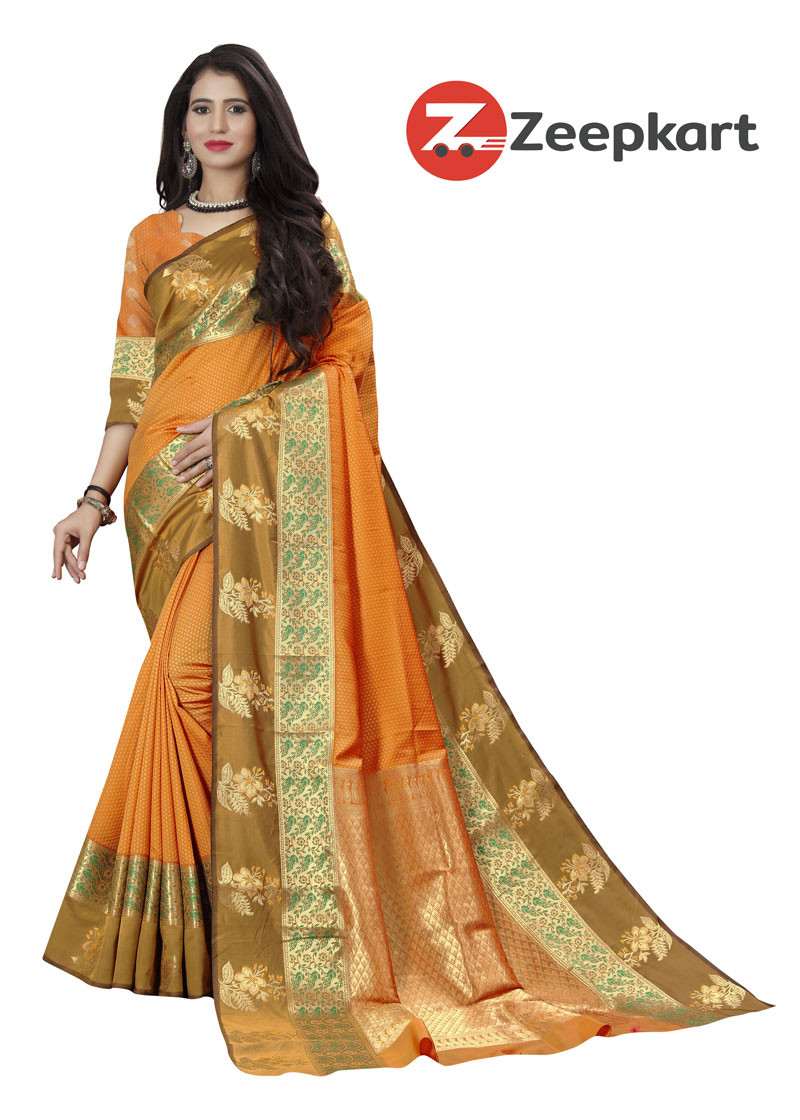ZK Orenge Soft Silk Saree