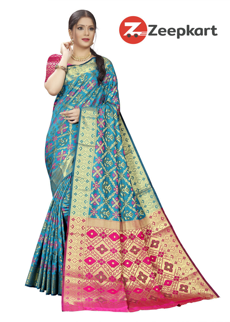 ZK Firozi Soft Silk Saree