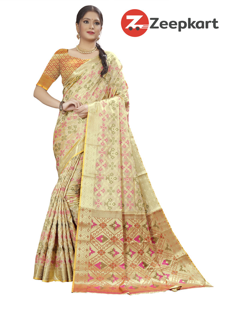 ZK L.Chikoo Soft Silk Saree