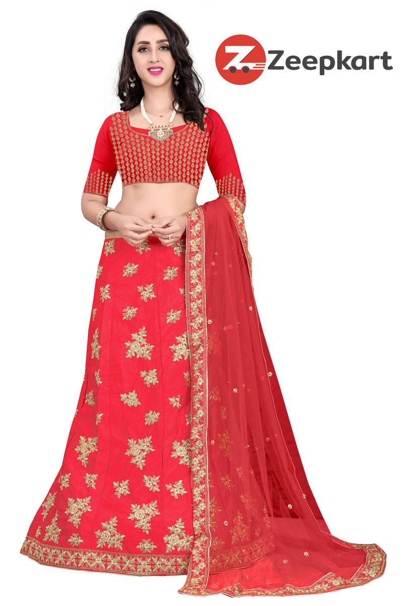 Red Party wear Designer Embroidered Malay satin Lehenga Choli LC 173