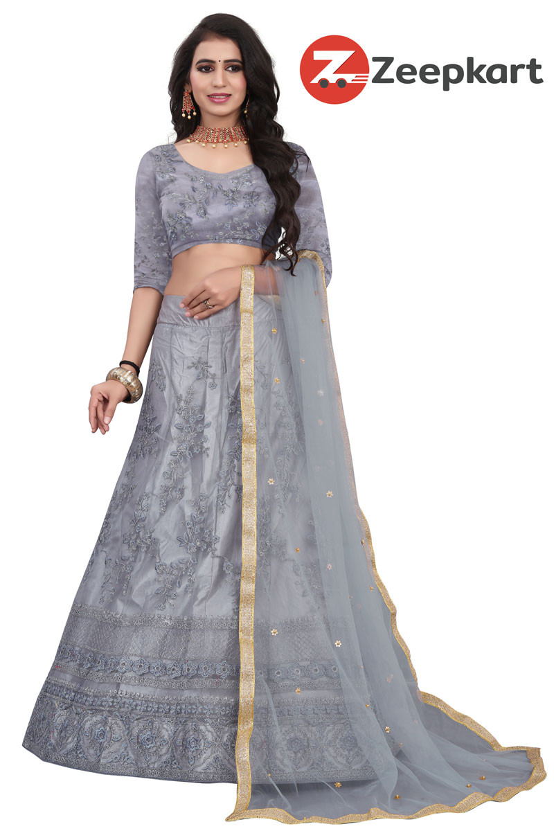 Grey Embroidered Attractive Party Wear silk Lehenga choli LC 197