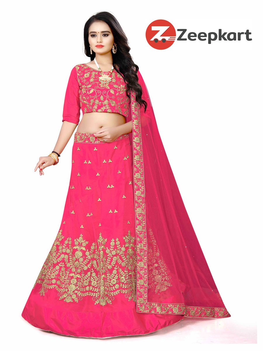 PINK COLORED EMBROIDERED NET MALAY SATIN MATERIAL LEHENGA CHOLI LC 249