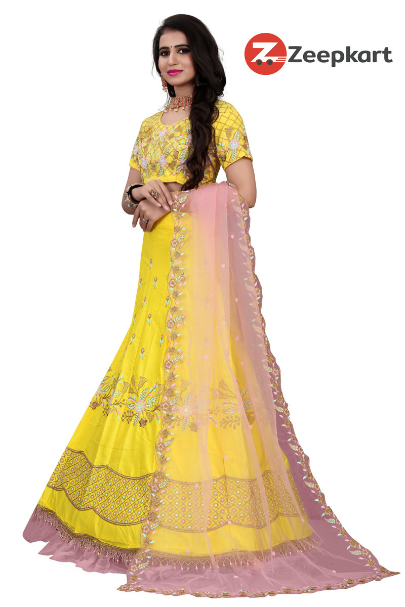 Yellow Colored Party Wear Peach Colored Dupatta Lehenga Choli LC 262