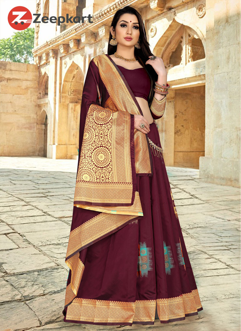 ZK wine Color Lichi Silk Saree
