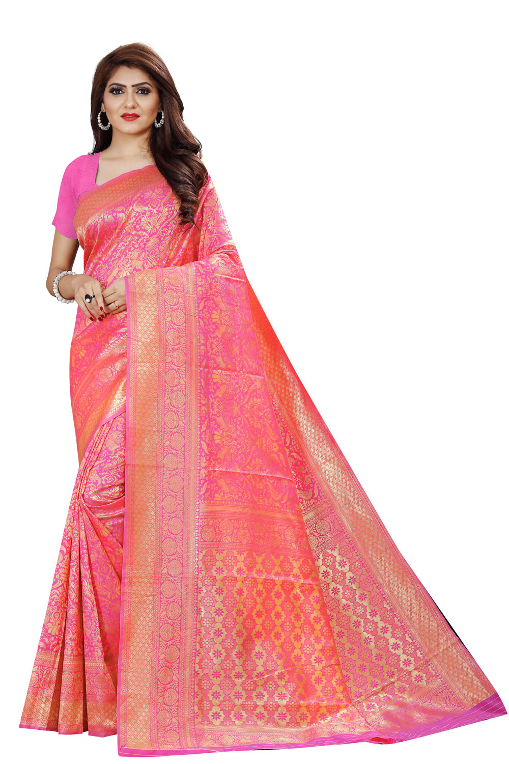 DD 140 Pink Colour Gold Zari Silk Saree