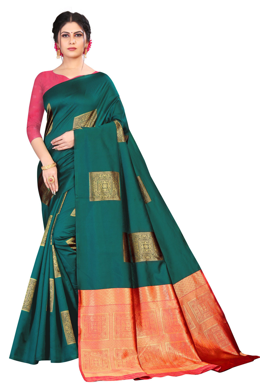 DD 158 Rama Colour Silk Saree