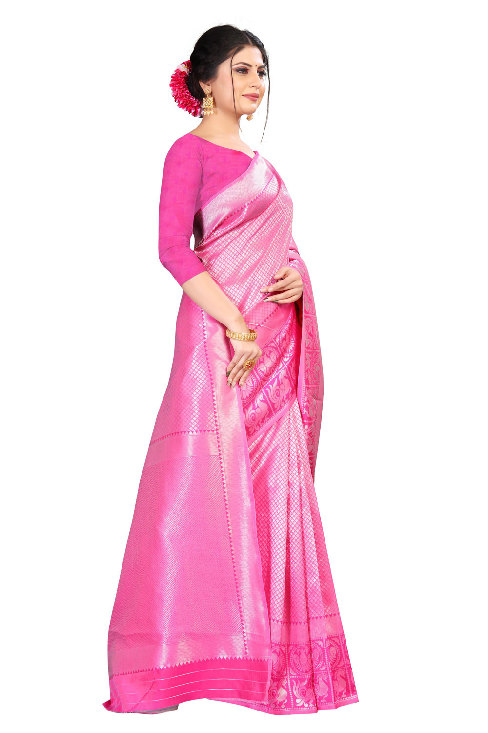 DD 164 Pink Colour Silk Saree