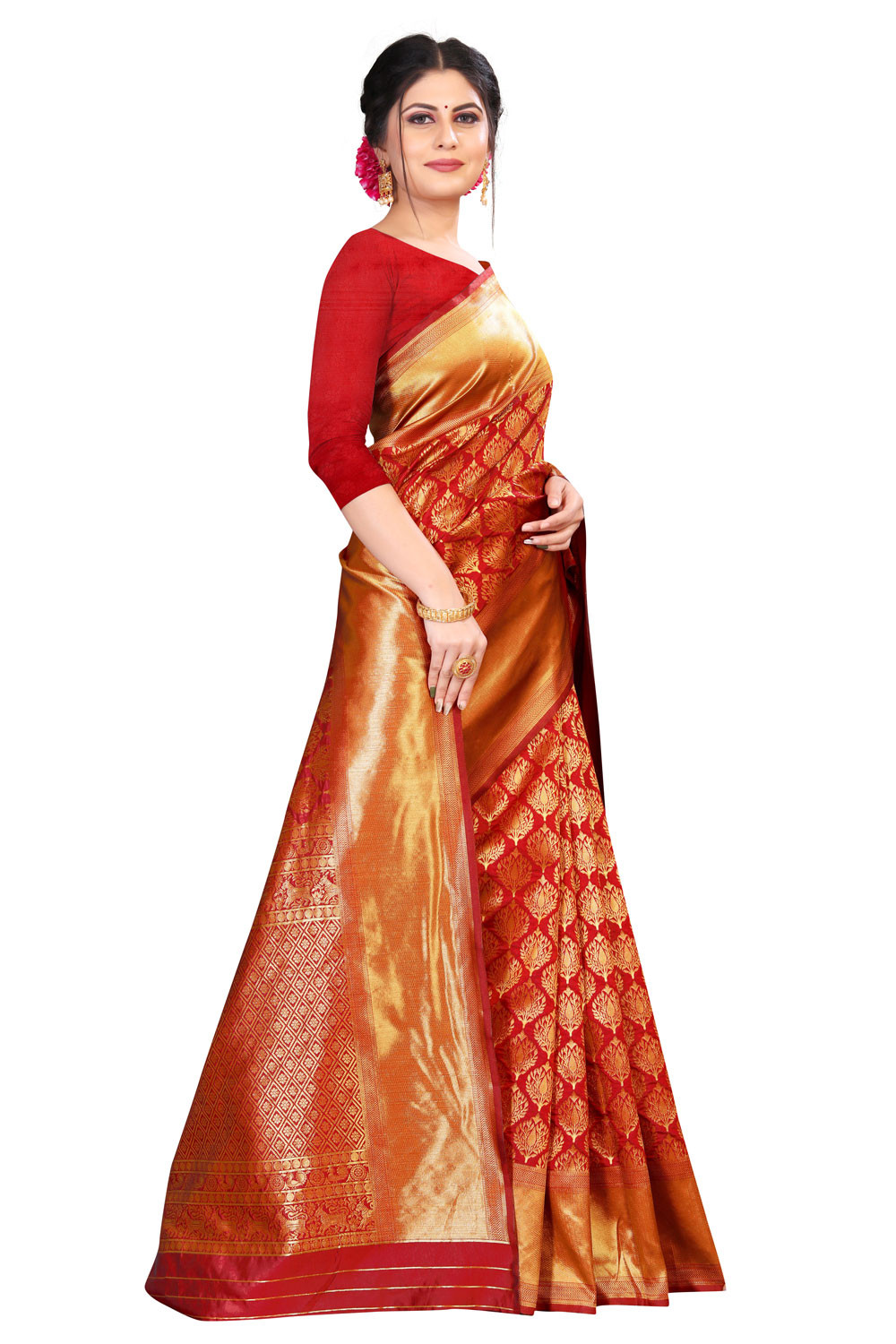 DD 174  vermillion red Kanchipuram silk brocade red saree