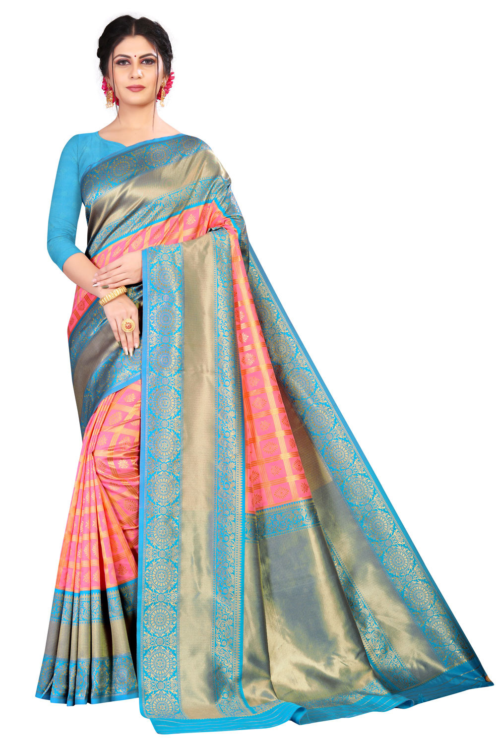 DD 175  PINK AND FIROZI COLOUR SILK SAREE