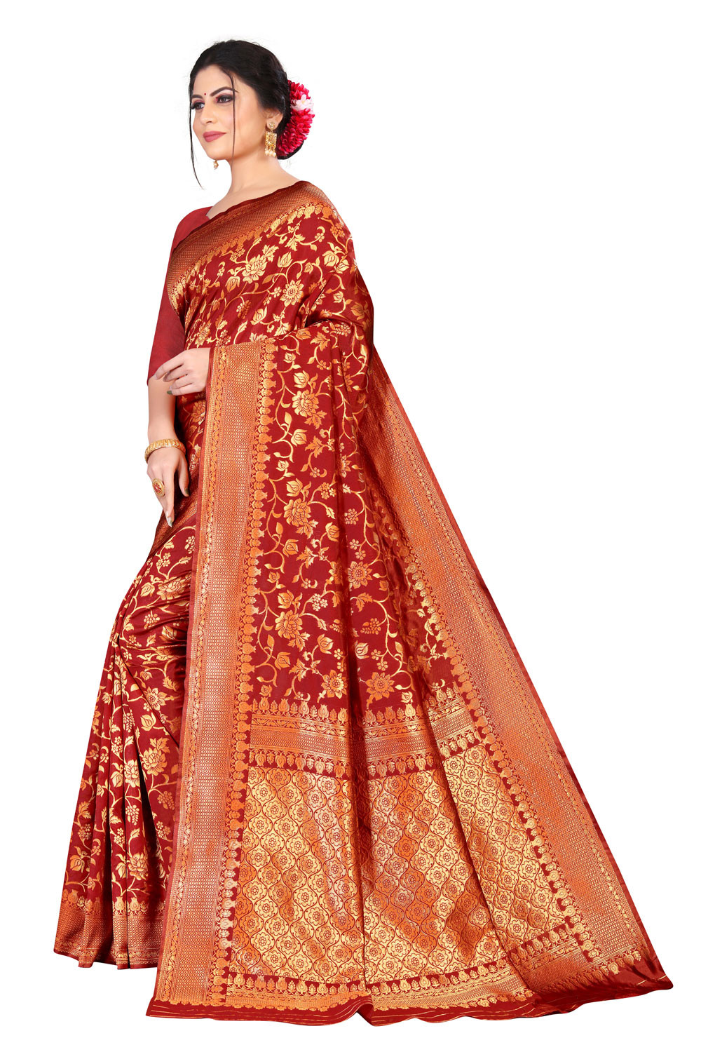 DD 186 Red  breathable organic Banarasi saree