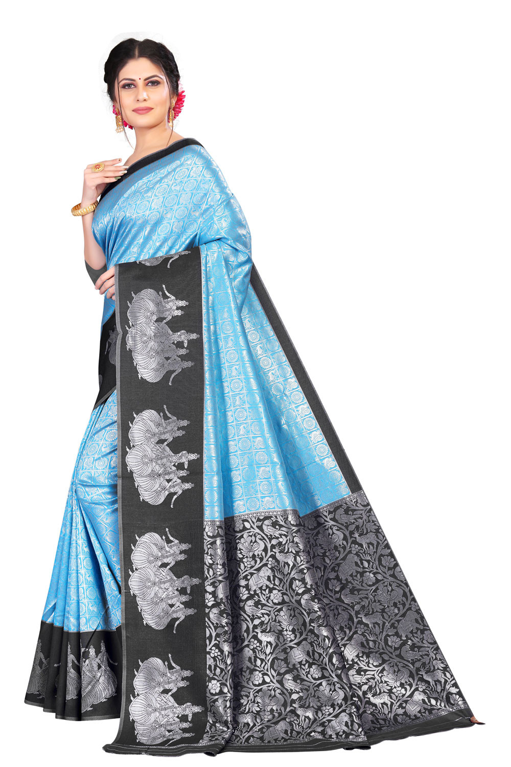 DD 206 Blue Black Colour  Kanchipuram silk saree