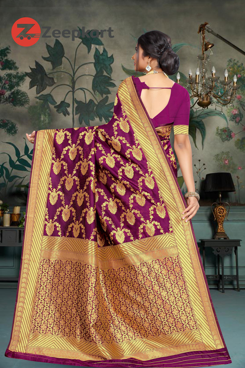 ZK Purple Colour Wowen Silk Saree