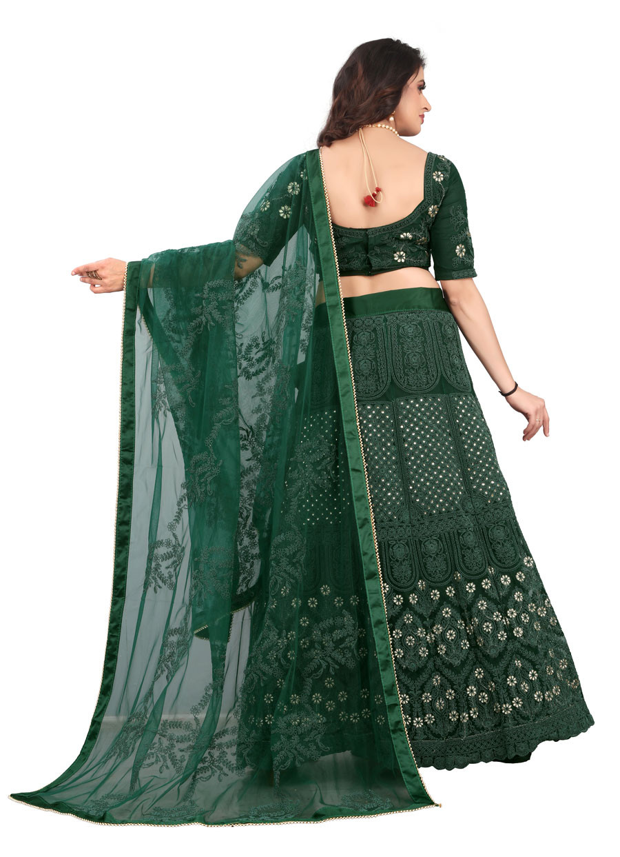 Green Embroidered Party Wear Net With Silk Lehengha choli LC01