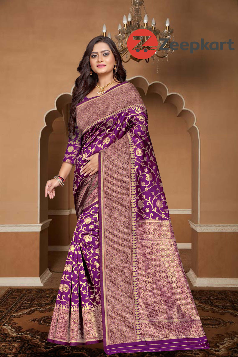 ZK Purple Colour Woven Silk Saree
