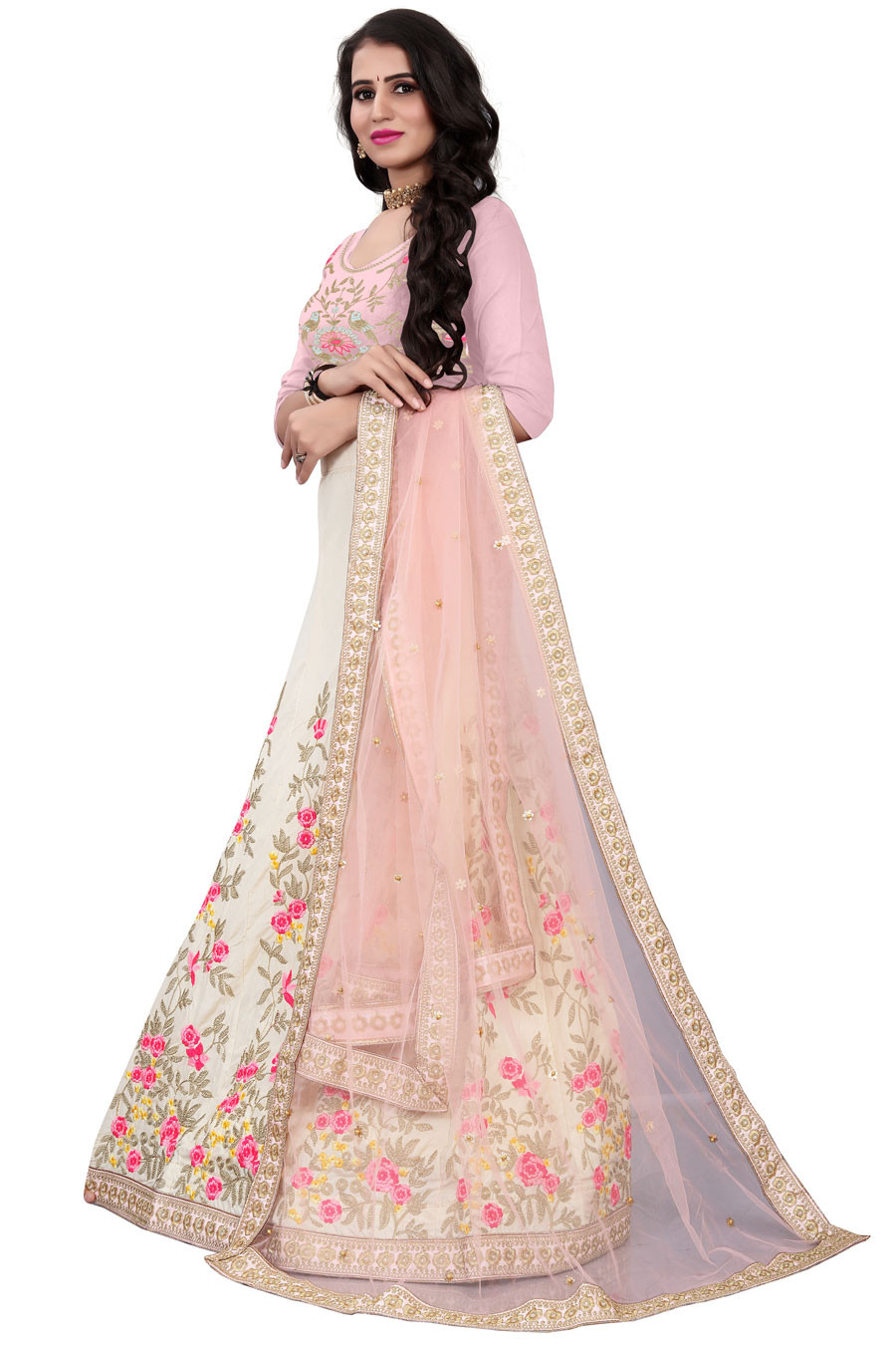 Beautiful Off White Partywear Embroidered satin Lehenga Choli LC 168