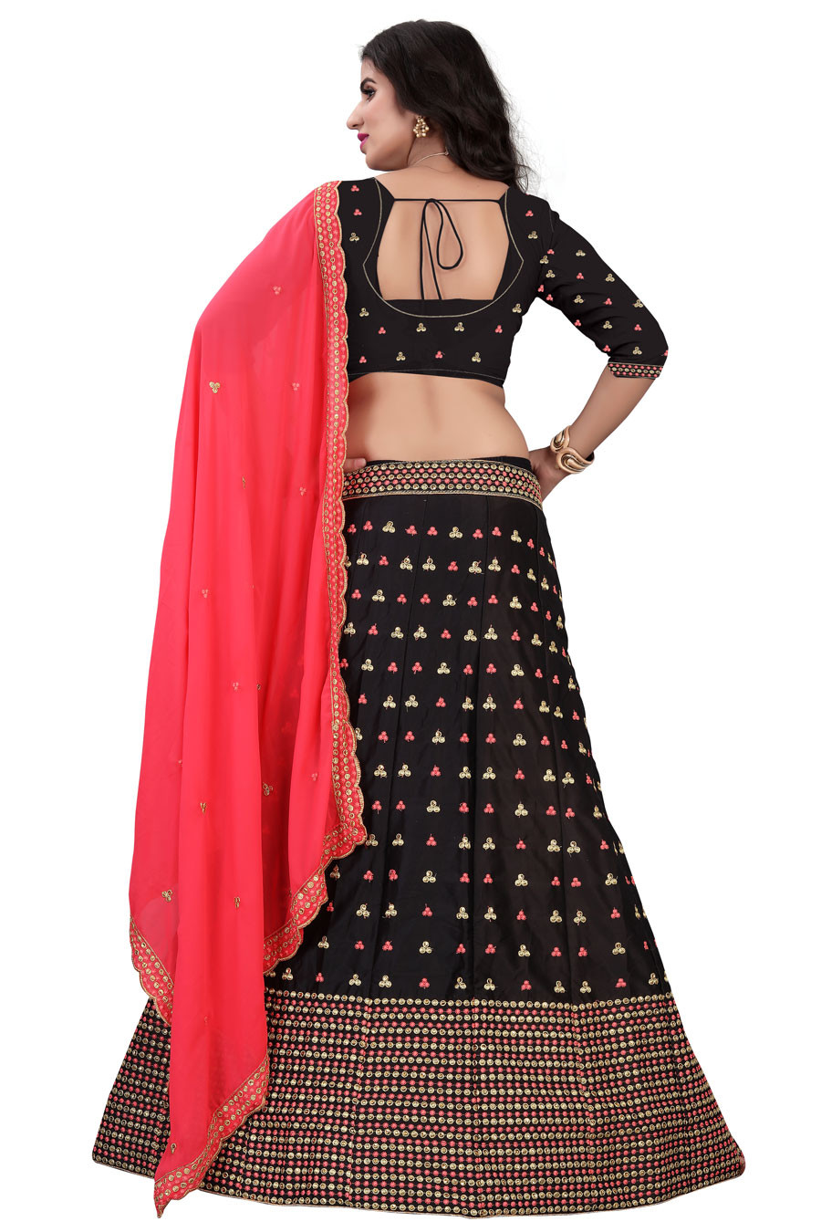 Black Partywear Embroidered Malay satin Material Lehenga Choli LC 229