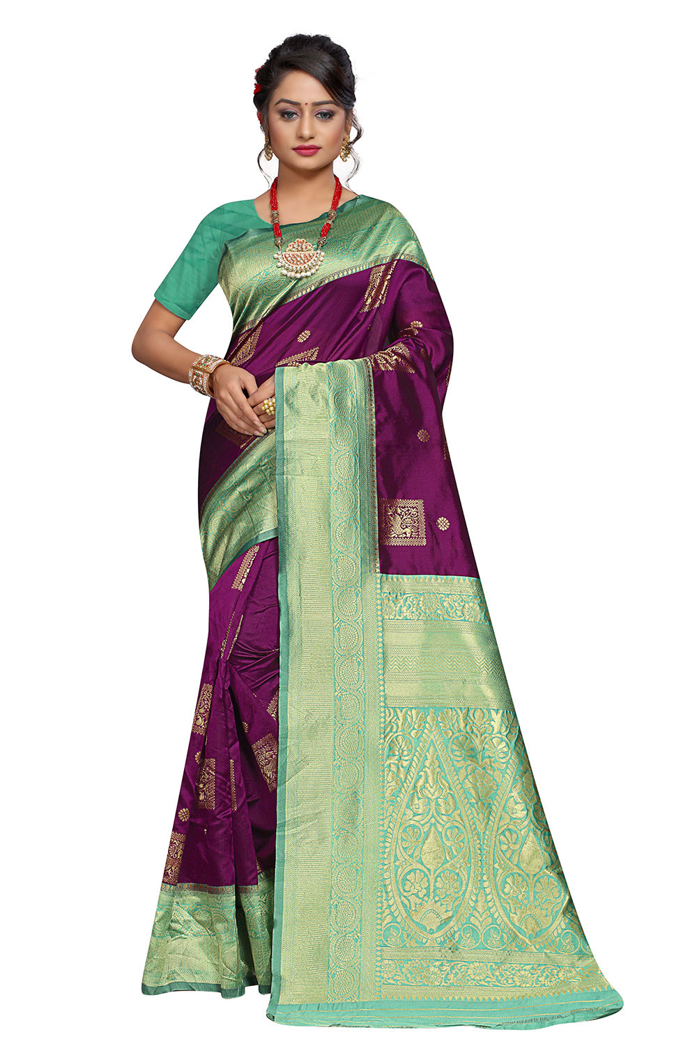 ZK C. Green And Purple Body Colour Woven Silk Saree