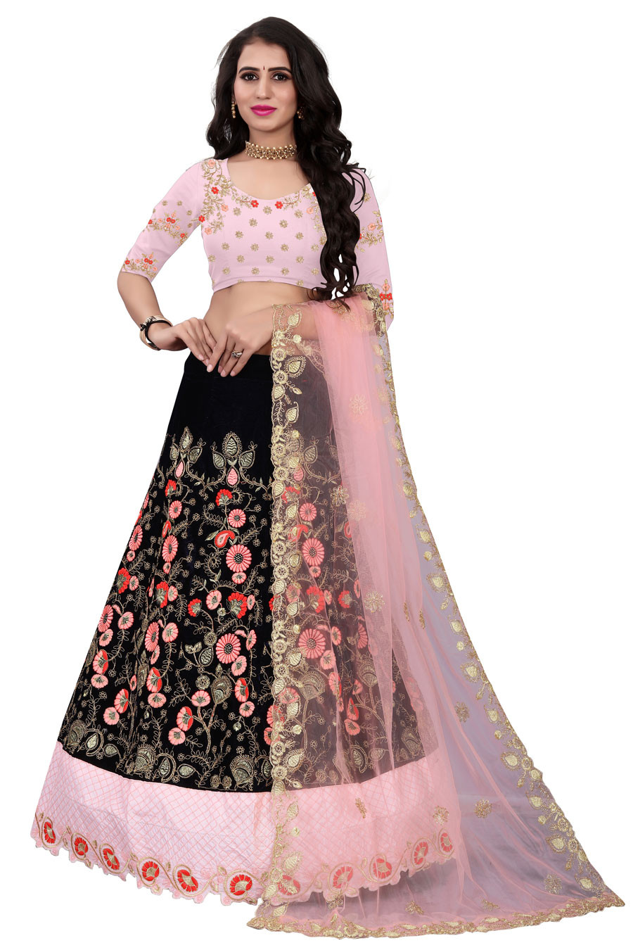 Peach And Blue Dupatta Partywear Embroidered Lehenga Choli LC 273