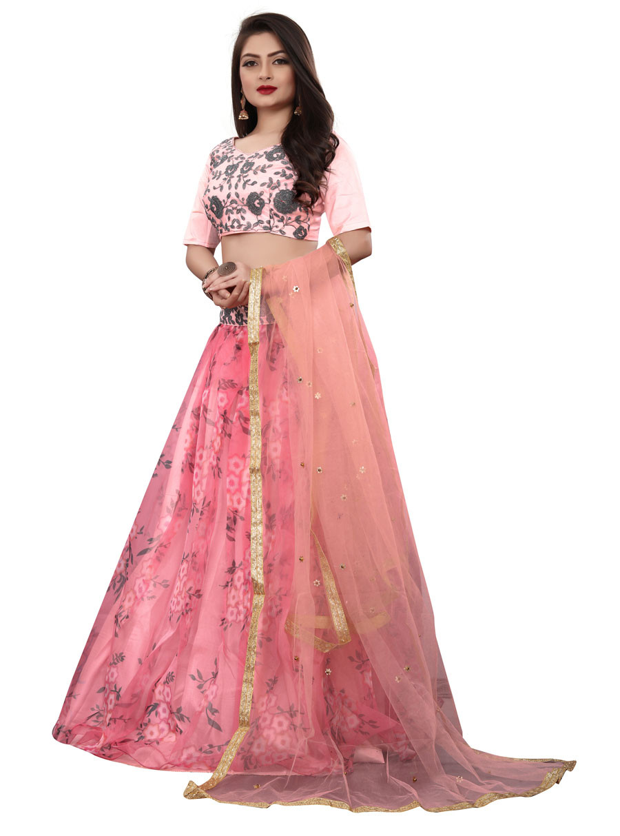 Pink Partywear Designer Embroidered Net with silk Lehenga Choli LC 276