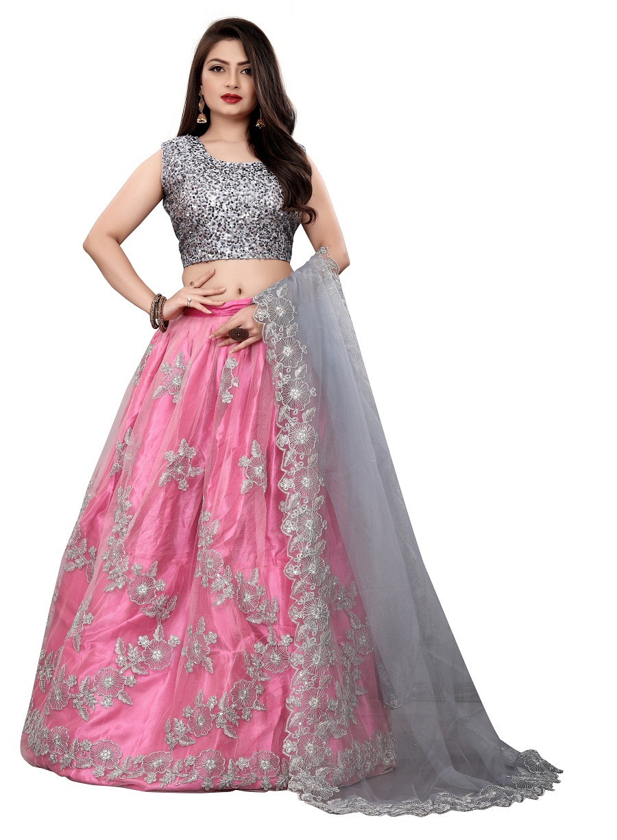 Silver Pink  Partywear Embroidered Net silk Lehenga Choli LC 315