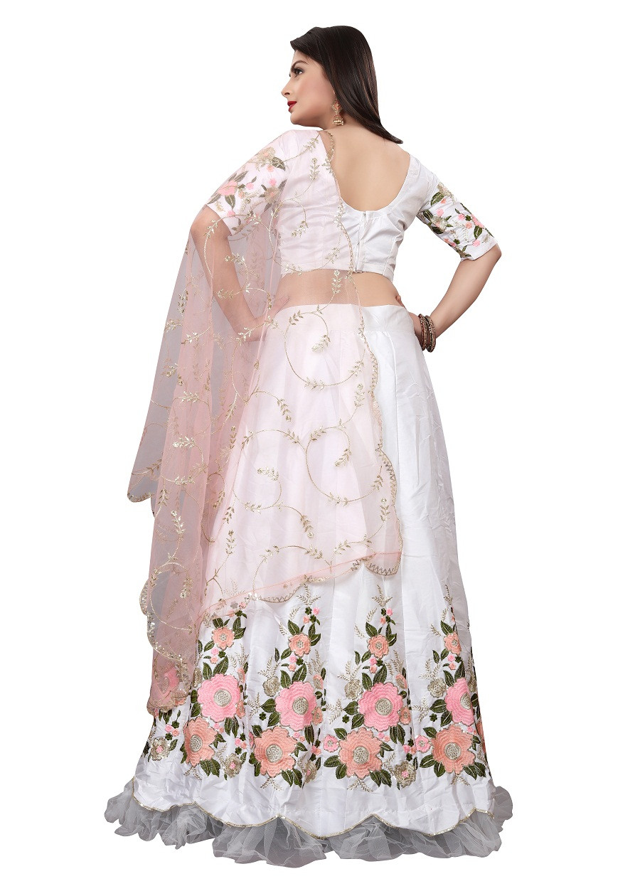White Lehenga choli on Net with silk fabric on embroidery work LC 318