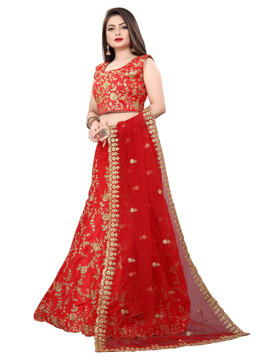Red Colored Partywear  Embroidered Malay Satin Lehenga Choli LC 321