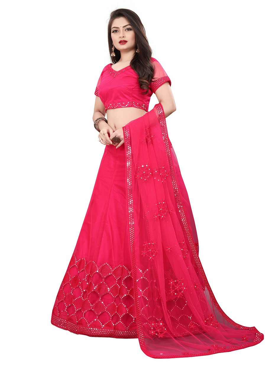 dark pink color partywear lehenga choli with embroidery work LC 323