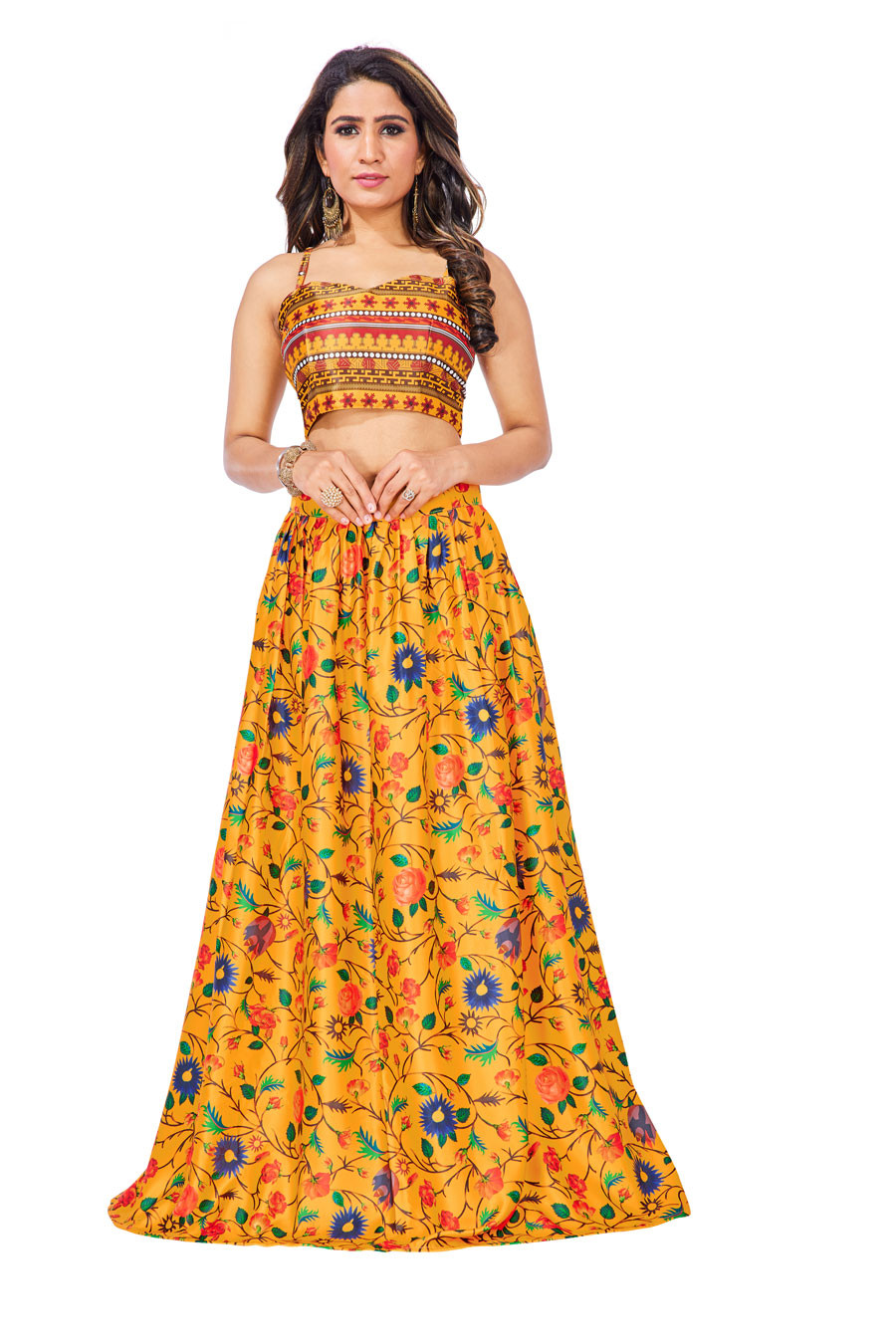 Yellow Colour Digitel Printed Satin Silk Lehenga Choli ZCLC 04