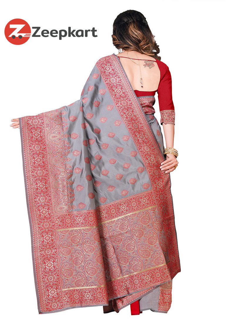 ZK Grey & Red Nakshi Work Colour Soft Silk Saree