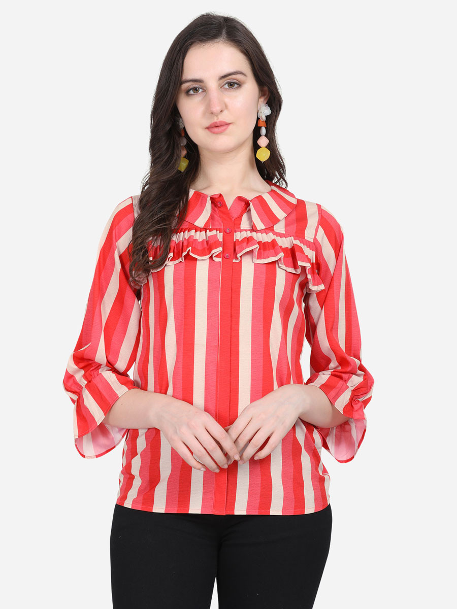 ZK THANKAR Pink Red Lining Crepe Top