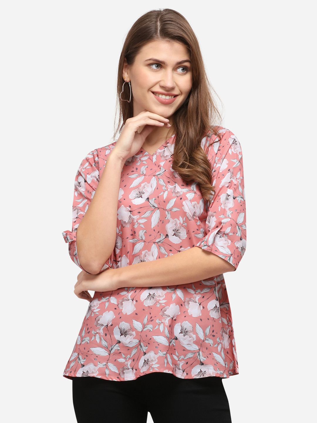 ZK THANKAR Pink Ful Crepe Top