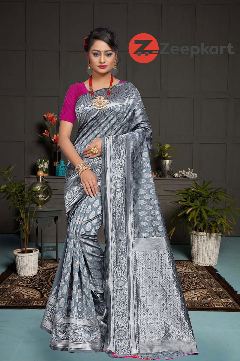 ZK Grey Rani Colour Woven Silk Saree