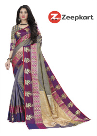 ZK Grey Purple Soft Silk Saree