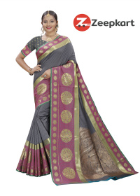 ZK Grey Soft Silk Saree