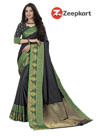 ZK Black  Soft Silk Saree