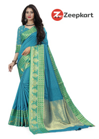 ZK Sky Blue Soft Silk Saree