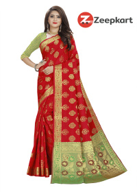 ZK Red Soft Silk Saree