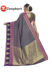 ZK Purple Grey Soft Silk Saree