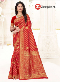 ZK Red Lichi Silk Saree