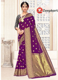 ZK Purple big butta Lichi Silk Saree