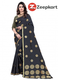 ZK Black Butta  Lichi Silk Saree
