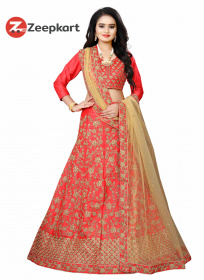 Outstanding Tomato Red  Embroidered Malay Satin Lehenga Choli LC 38