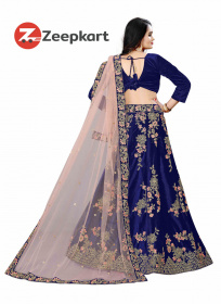Navy Blue Designer Embroidered Velvet Material Lehenga Choli LC 53