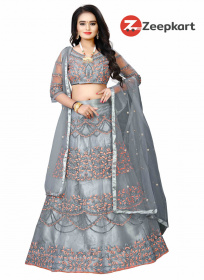 Grey Colored Partywear Designer Embroidered Silk Lehenga Choli LC 66