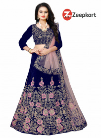 Blue Designer Embroidered Work Velvet Material Lehenga Choli LC 129