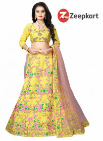 Glorious Yellow With Embroidery Work Malay satin lehenga choli LC 130