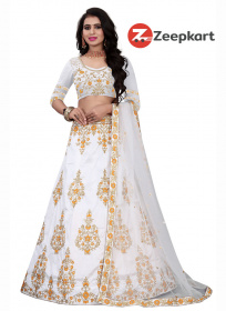 Shine white Colored Designer Embroidered Silk Lehenga Choli LC 132
