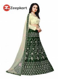 Green Embroidered Attractive Party Wear velvet Lehenga Choli LC 158