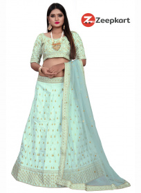 Unique Olive Green Embroidery Designer Raw Silk Lehenga Choli LC 162