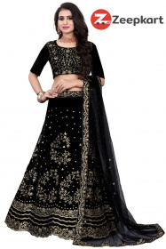 Exceptional Black Designer Embroidered Velvet lehenga Choli LC 174